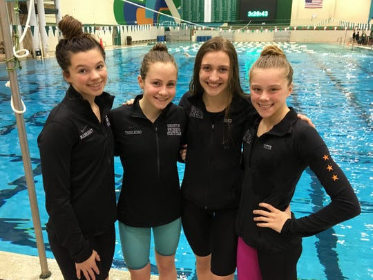 Brighton's 400 freestyle relay team of (from left) Gabby Mainhardt, Drue Thielking, Chloe Reed and Lindsey Witte finished fourth in the state meet.