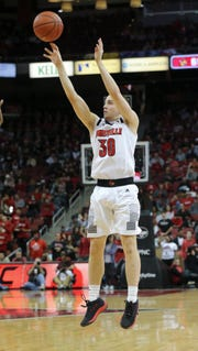 Louisville's Ryan McMahon (30) shoots against Central Arkansas during their game at the KFC Yum Center. Dec. 5, 2018