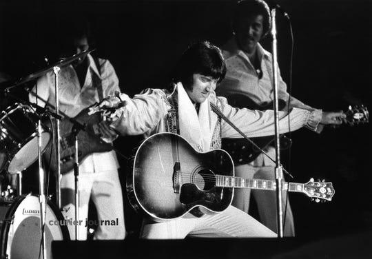 Elvis Presley performs at Louisville's Freedom Hall.   June 24, 1974.