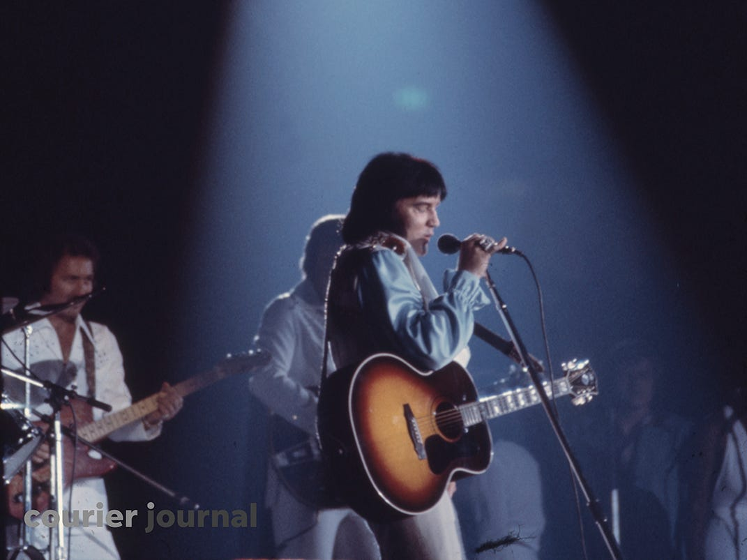 Elvis Presley performs at Louisville's Freedom Hall.   June 24, 1974.