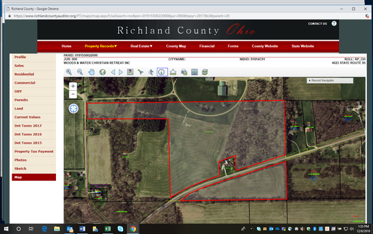 An aerial view from the Richland County Auditor's office of the land owned by Woods and Water Christian Retreat near Perrysville, Ohio, where Cabot has filed a permit to horizontally drill for oil and natural gas.