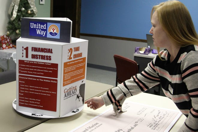 Michelle Ryman, with Marion Matters, reads a 3D info chart on Thursday that was created by Ohio State Marion students as they decided which local nonprofit would receive the largest portion of money raised for the class.