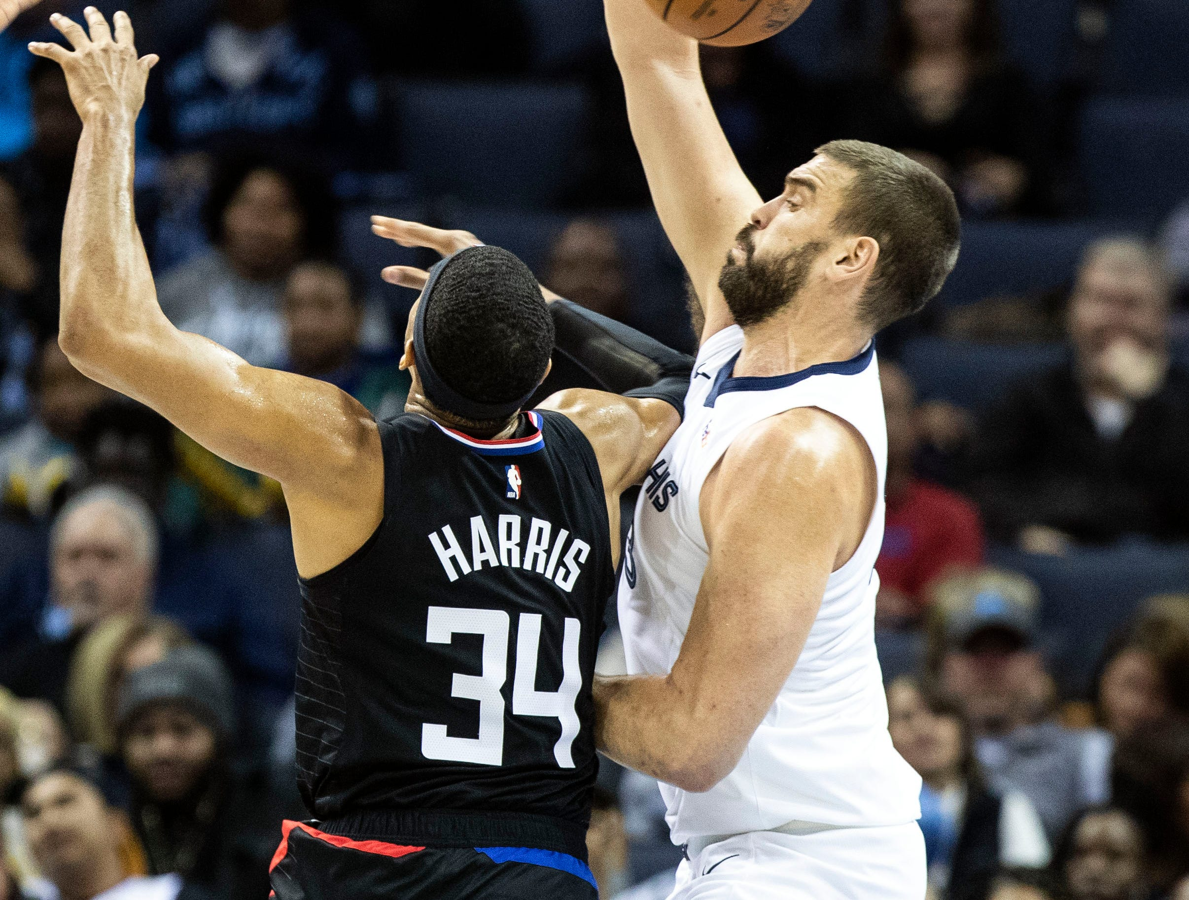 Memphis Grizzles center, Marc Gasol (33) blocks a shot attempt by Los Angeles Clippers forward Tobias Harris (34), during the first half of a NBA basketball game between the Memphis Grizzlies and the  Los Angeles Clippers in the Fedex Forum, Wednesday, Dec. 5, 2018.