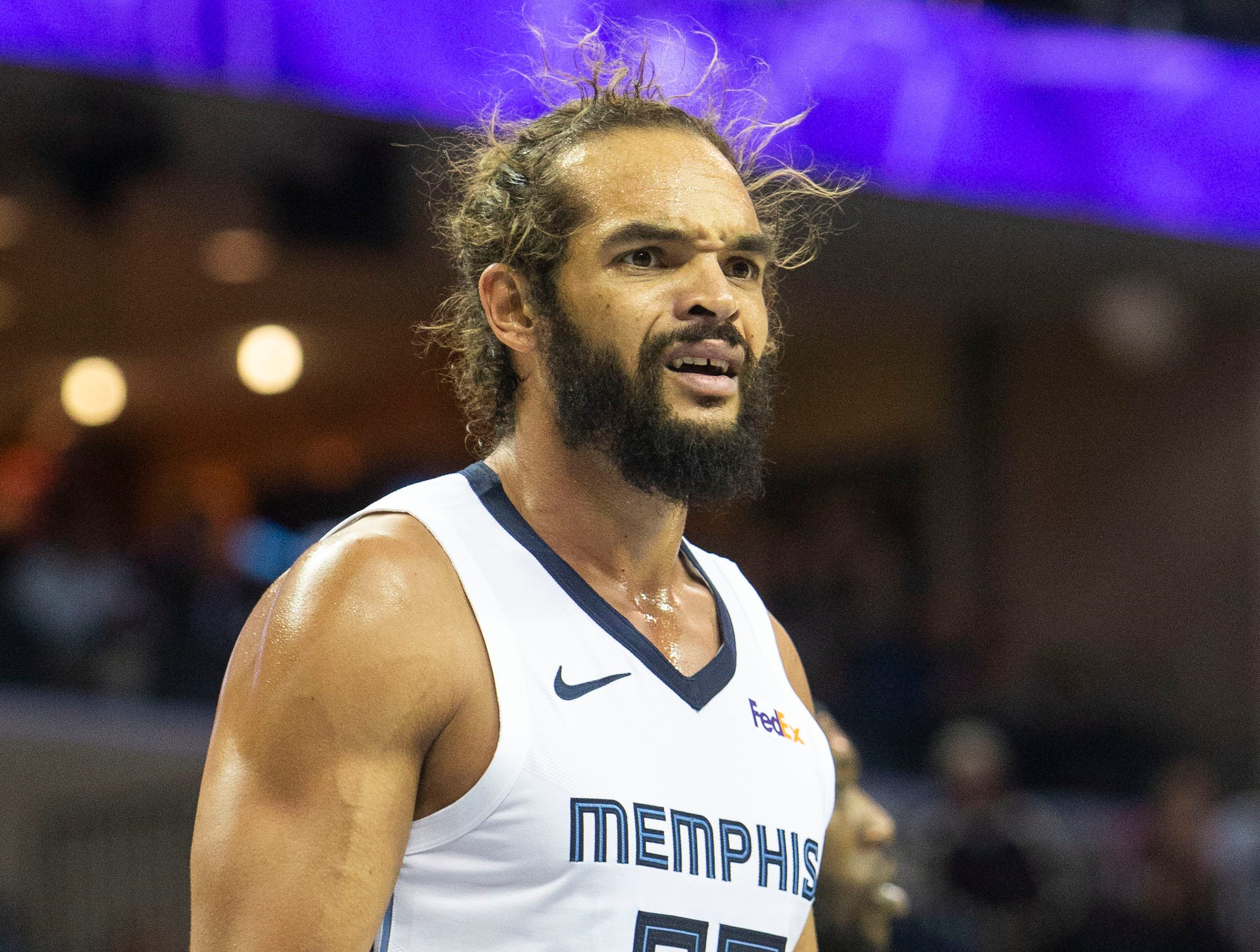 Memphis Grizzles center Joakim Noah (55) reacts to a call during a NBA basketball game between the Memphis Grizzlies and the  Los Angeles Clippers in the Fedex Forum, Wednesday, Dec. 5, 2018.
