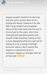 Brock Strange, Reagan's brother, posted a note of encouragement on his Instagram Story.