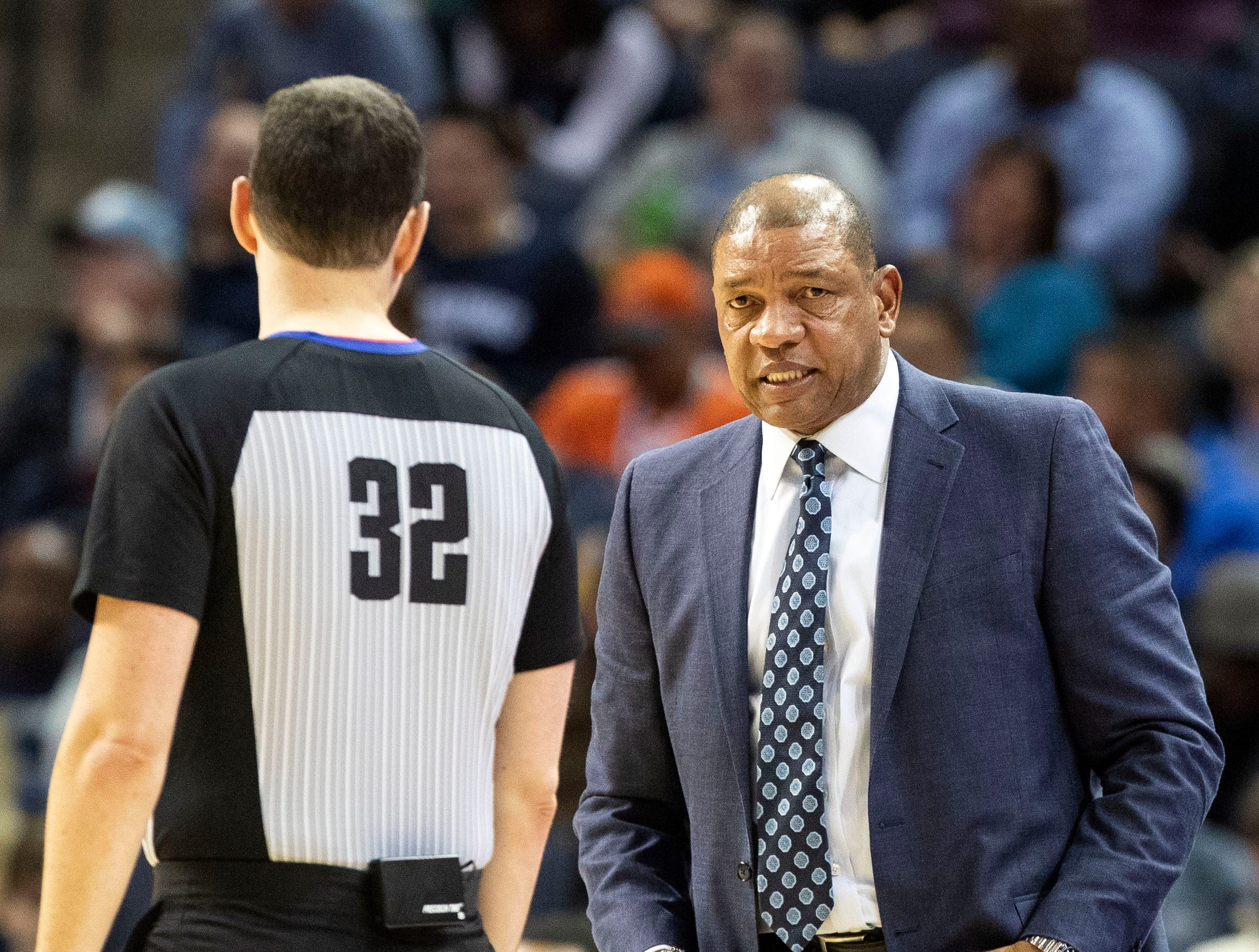 Los Angeles Clippers head coach Doc Rivers, questions a call during  a NBA basketball game between the Memphis Grizzlies and the  Los Angeles Clippers in the Fedex Forum, Wednesday, Dec. 5, 2018.