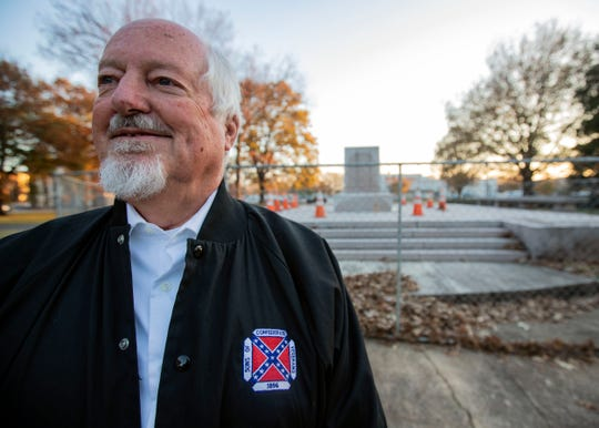 Lee Millar of Memphis branch of Sons of Confederate Veterans stands in Health Sciences Park in front of where Nathan Bedford Forrest's statue used to stand.
