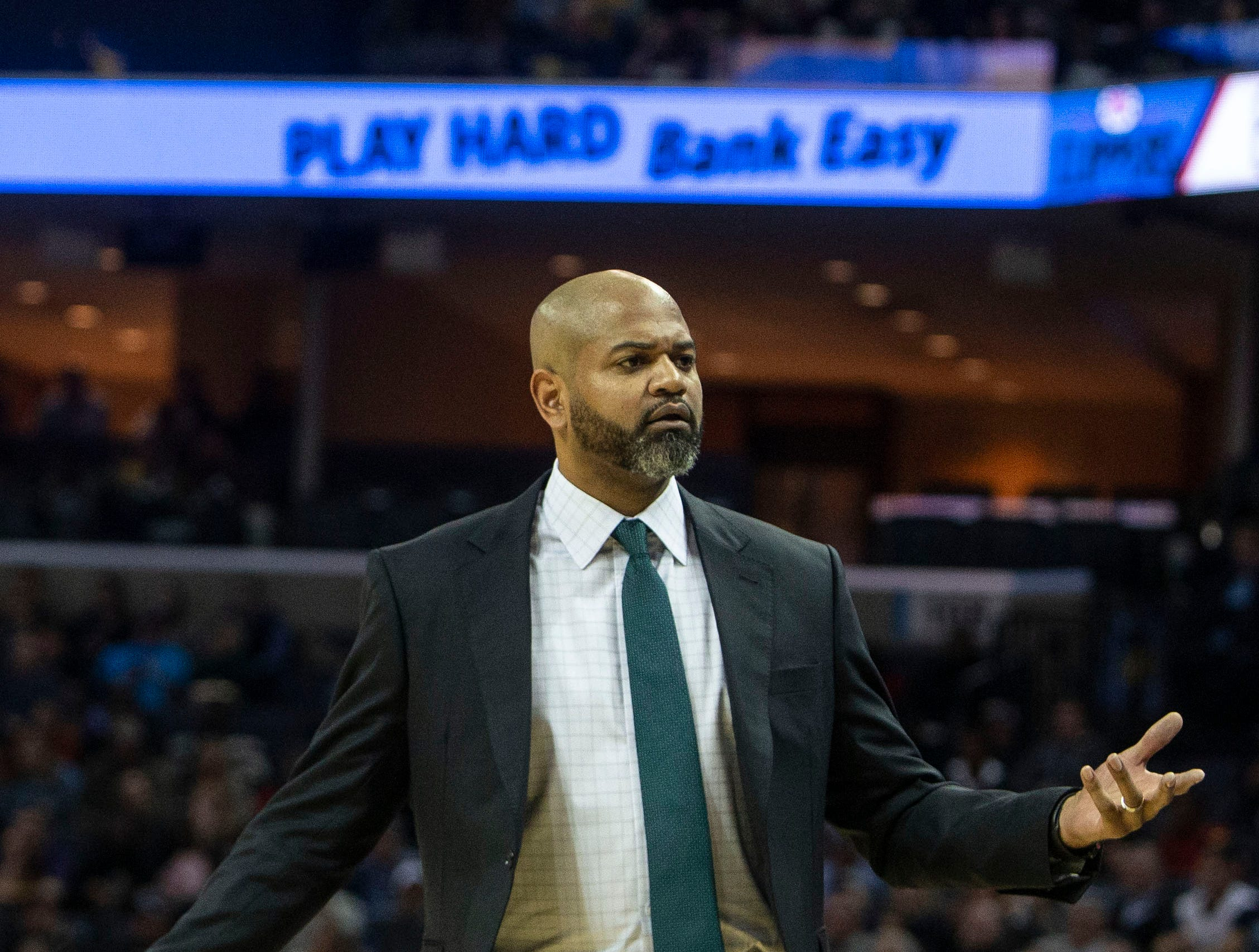 Memphis Grizzles head coach J.B. Bickerstaff, reacts to a call during a NBA basketball game between the Memphis Grizzlies and the  Los Angeles Clippers in the Fedex Forum, Wednesday, Dec. 5, 2018.