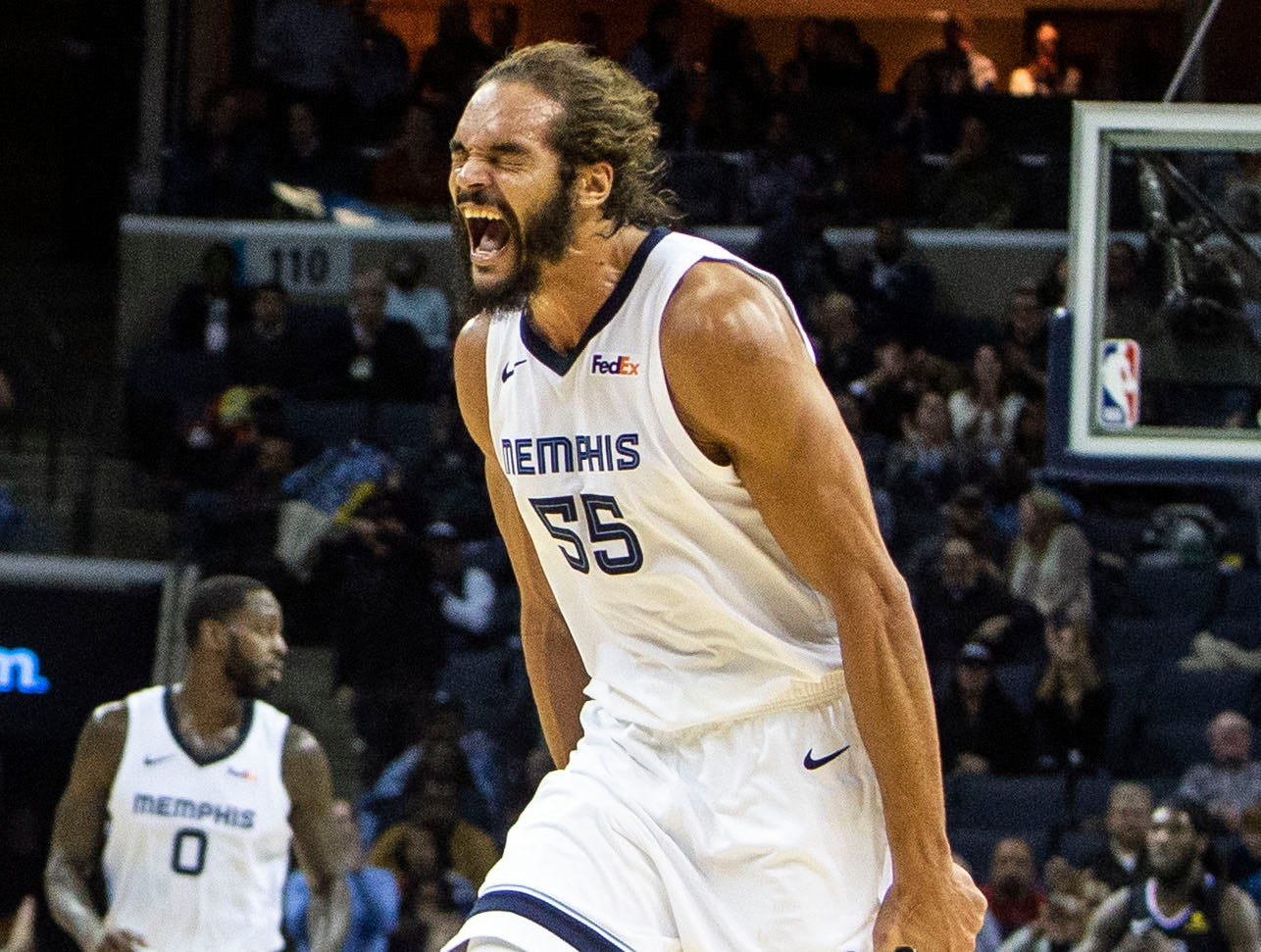 Memphis Grizzles center Joakim Noah (55) celebrates after a score during a NBA basketball game between the Memphis Grizzlies and the  Los Angeles Clippers in the Fedex Forum, Wednesday, Dec. 5, 2018.