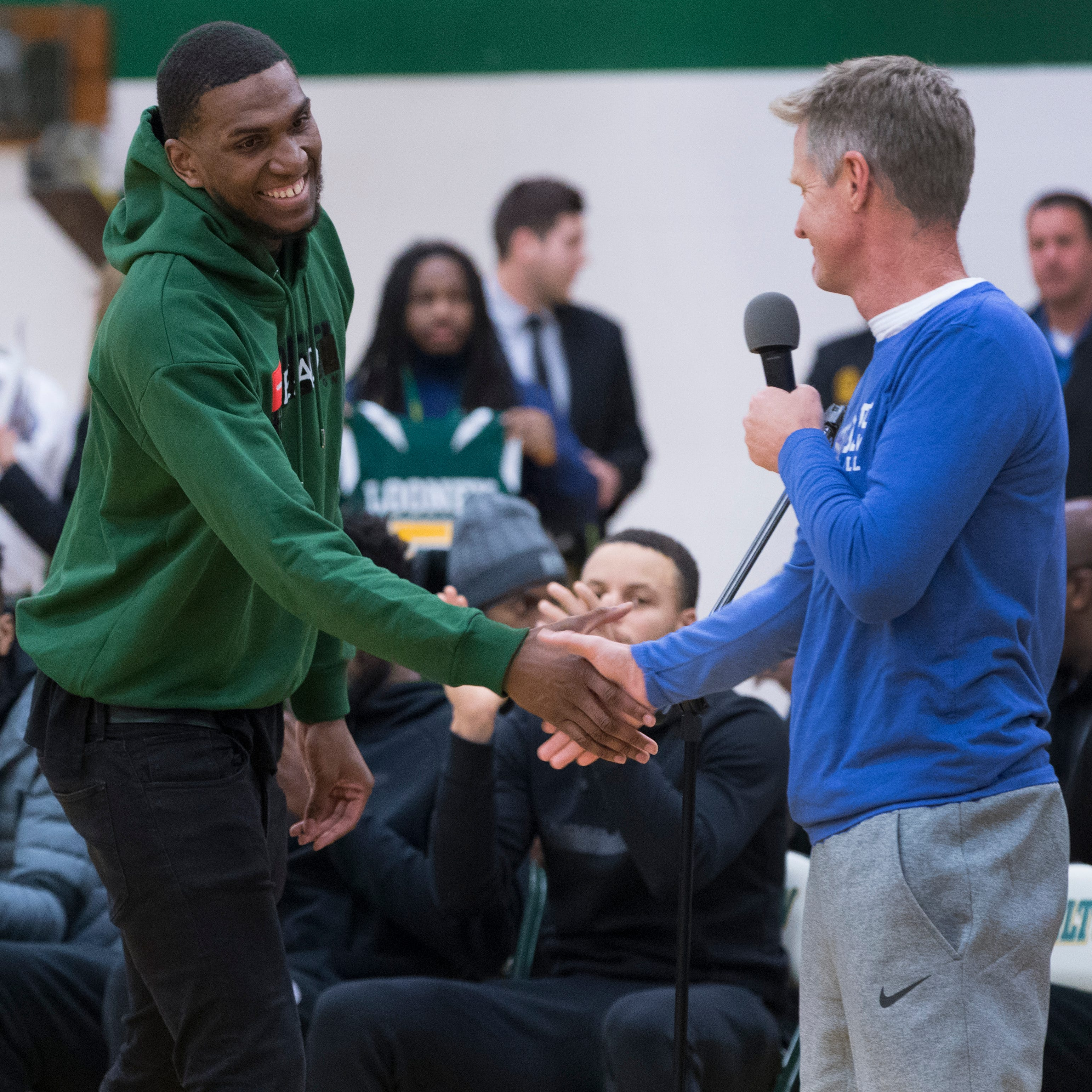 Milwaukee Hamilton held a ceremony to retire Kevon Looney's jersey. Then Kevin Durant, Steph Curry and the Warriors showed up.