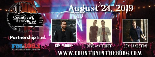 The first ever Country in the Burg will feature Kip Moore as the headliner alongside Love and Theft and Jon Langston.