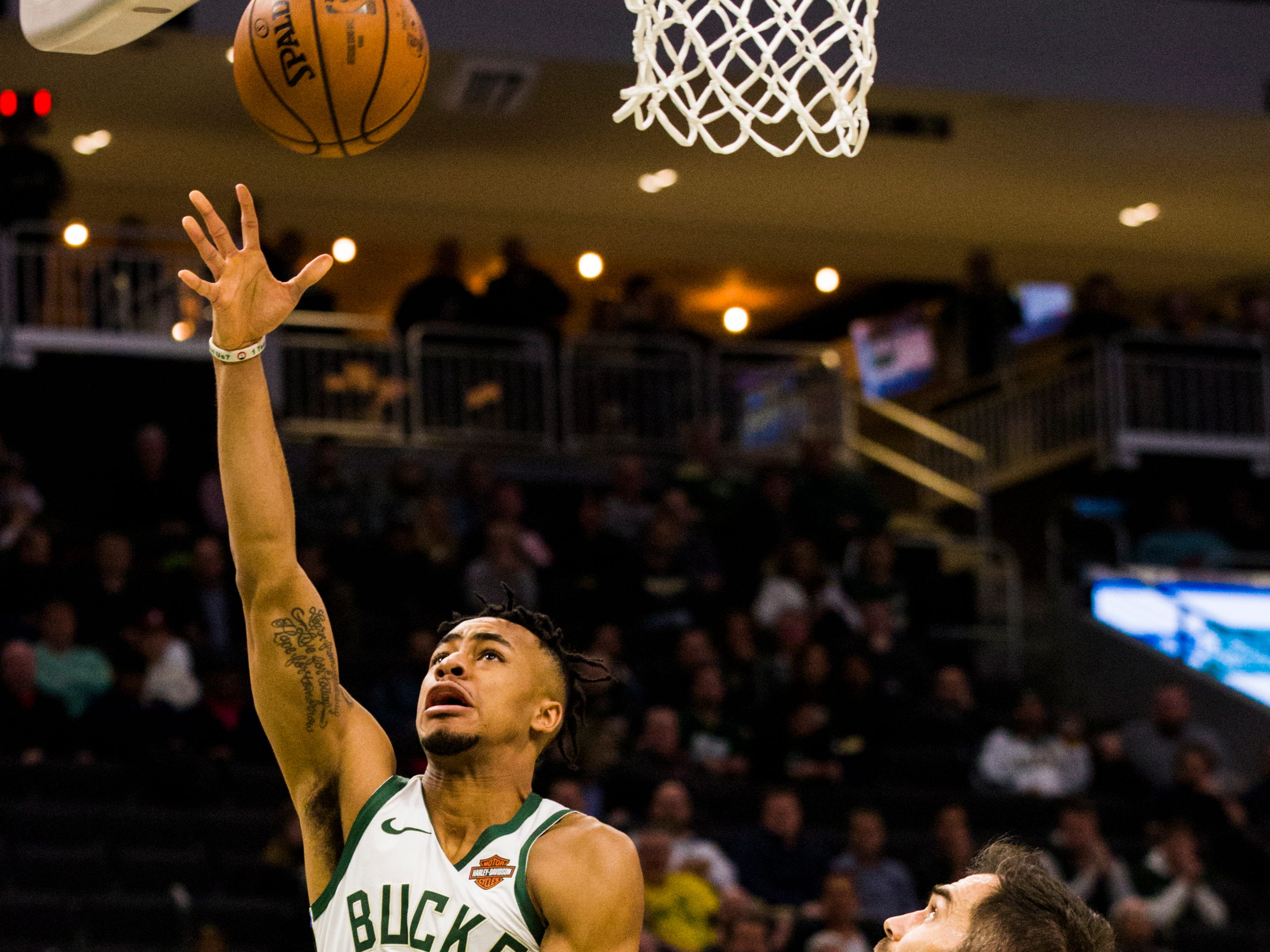 Jaylen Morris of the Bucks gets to the hoop for an easy basket in the fourth quarter during the blowout victory over the Pistons on Wednesday night.