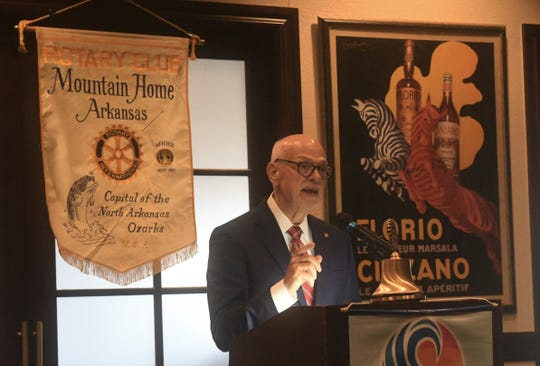 University of Arkansas Chancellor Joseph Steinmetz speaks to the Mountain Home Rotary Club on Thursday at Big Creek Golf & Country Club.