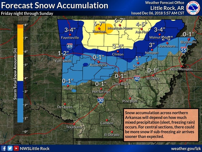 The Thursday morning forecast from the National Weather Service predicted 6-7 inches of snow for the Twin Lakes Area over the course of the coming weekend.