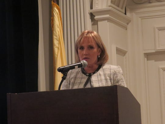Former New Jersey Lt. Gov. Kim Guadagno speaks during a retirement reception for Morris County Chamber of Commerce President Paul Boudreau, at the Park Savoy in Florham Park. Dec. 5, 2018.