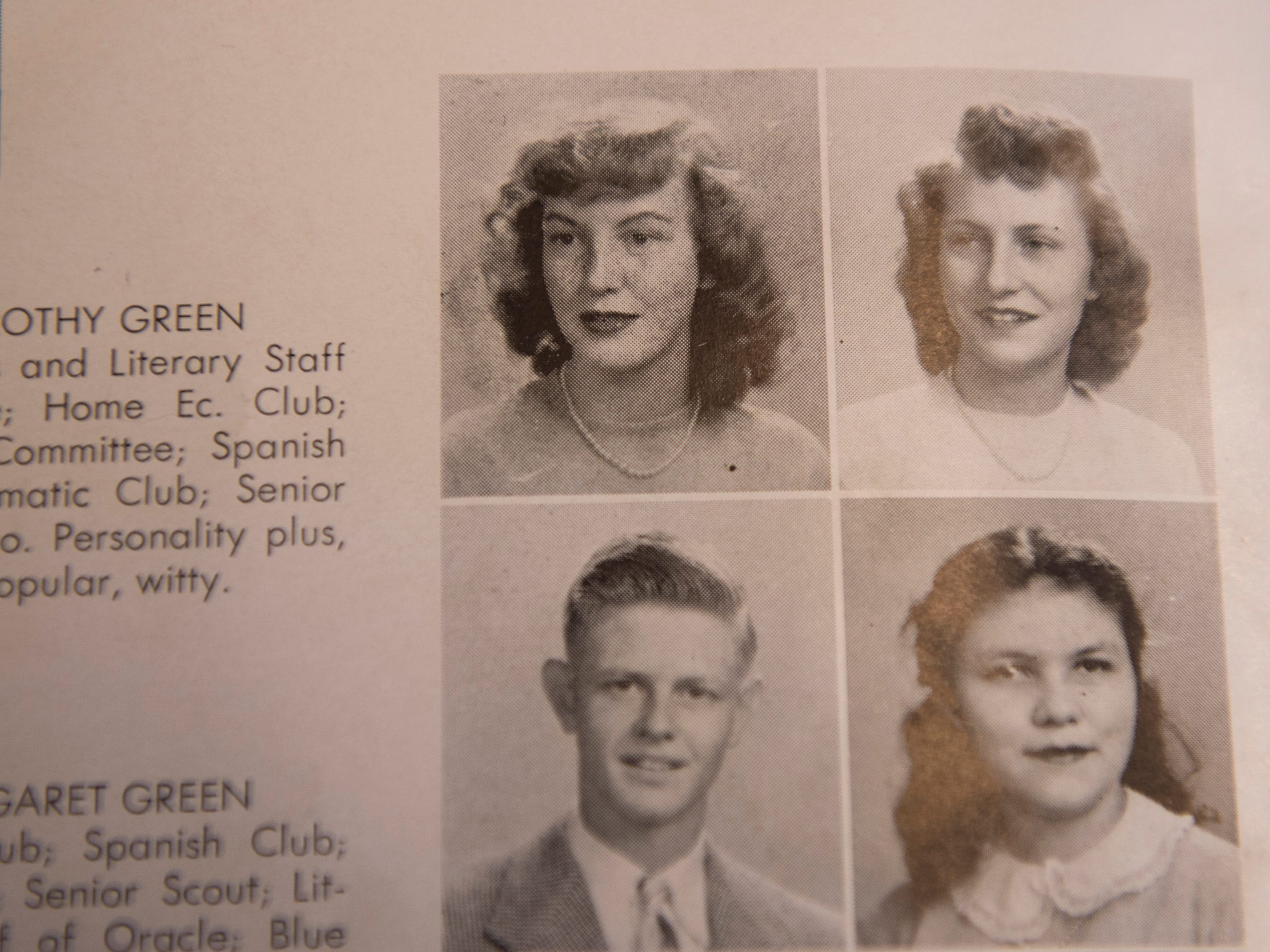 "Dorothy ""Dot"" Green (Hawthorne), top right, senior picture from a 1948 Lanier High School yearbook photographed in Montgomery, Ala., on Thursday, Dec. 6, 2018."