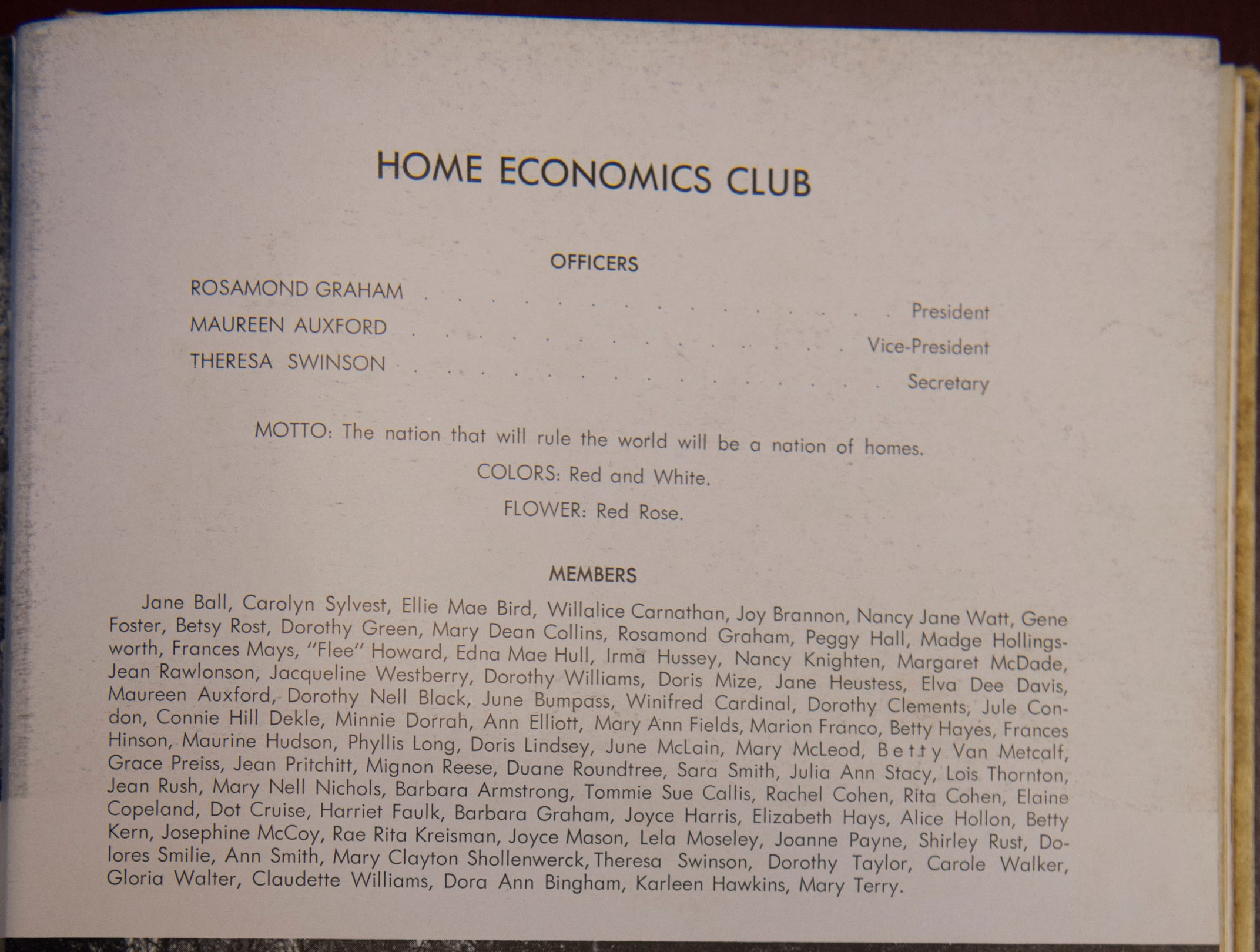 The home economics club page from a 1948 Lanier High School yearbook photographed in Montgomery, Ala., on Thursday, Dec. 6, 2018.