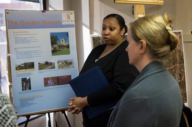 Tamara Brooks, an Auburn student presents findings on historical neighborhood preservation surveys she did in Montgomery, Ala., on Thursday, Dec. 6, 2018.