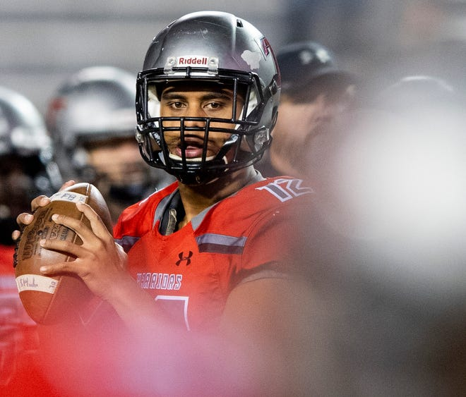 Thompson's Taulia Tagovailoa during the AHSAA Class 7A State Championship Football Game at Jordan Hare Stadium in Auburn, Ala., on Wednesday evening December 5, 2018.