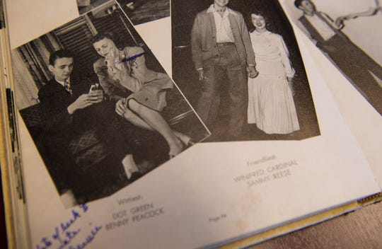"Dorothy ""Dot"" Green (Hawthorne), top right, voted wittiest in a 1948 Lanier High School yearbook photographed in Montgomery, Ala., on Thursday, Dec. 6, 2018."