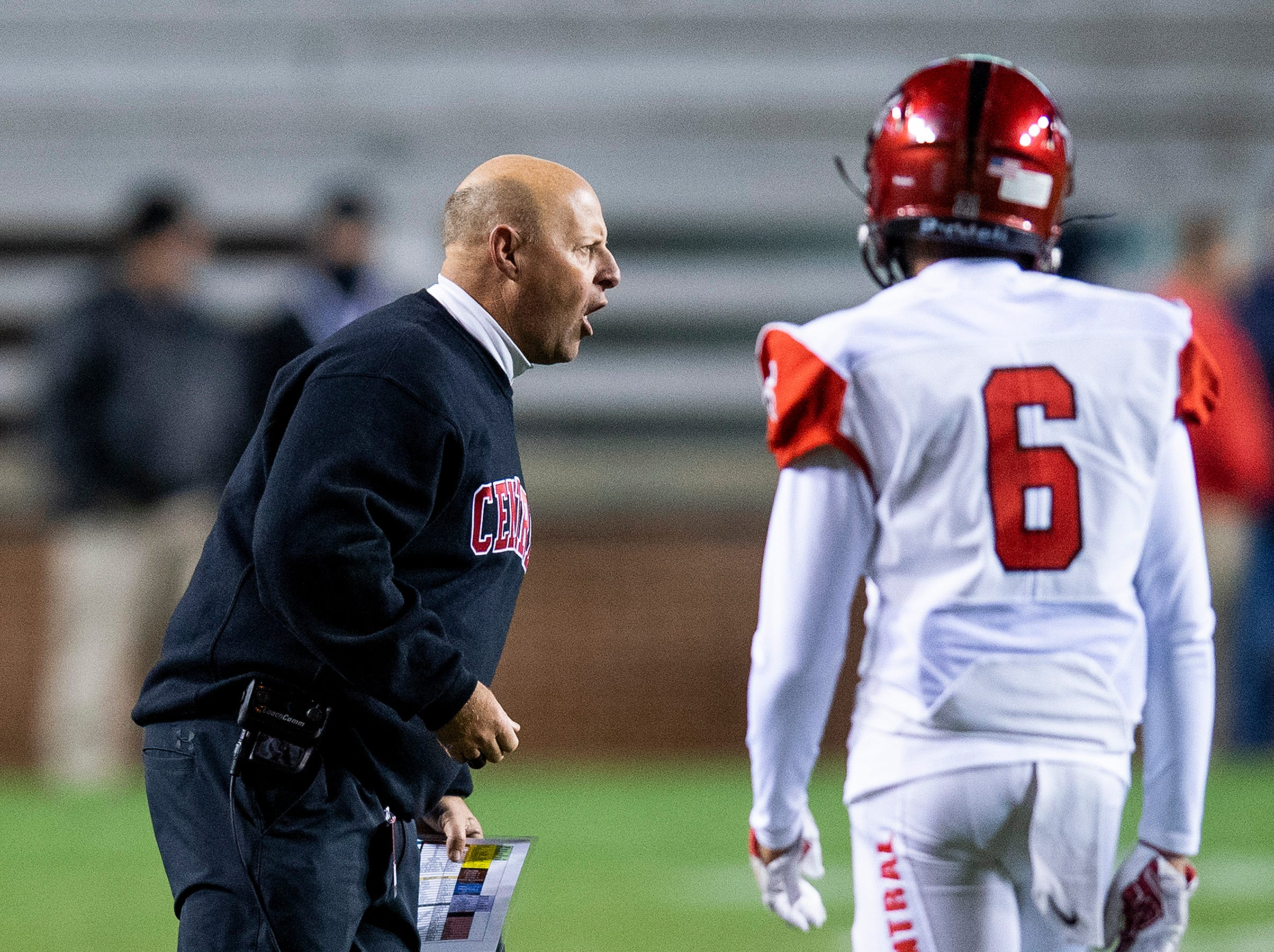 Central-Phenix City coach Jamey DuBose coaches against Thompson during the AHSAA Class 7A State Championship Football Game at Jordan Hare Stadium in Auburn, Ala., on Wednesday evening December 5, 2018.