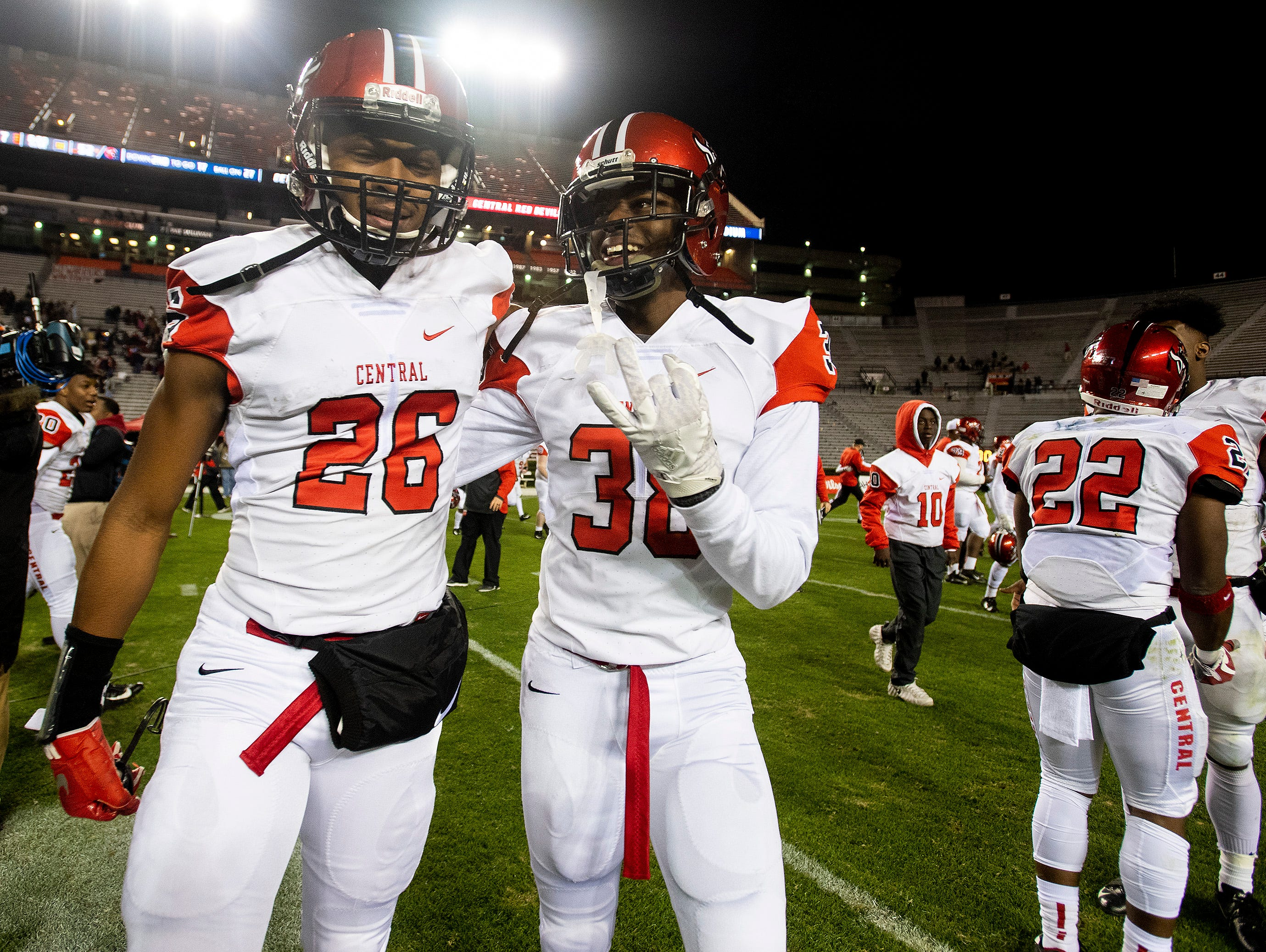 Central-Phenix City players celebrate after defeating Thompson in the AHSAA Class 7A State Championship Football Game at Jordan Hare Stadium in Auburn, Ala., on Wednesday evening December 5, 2018.