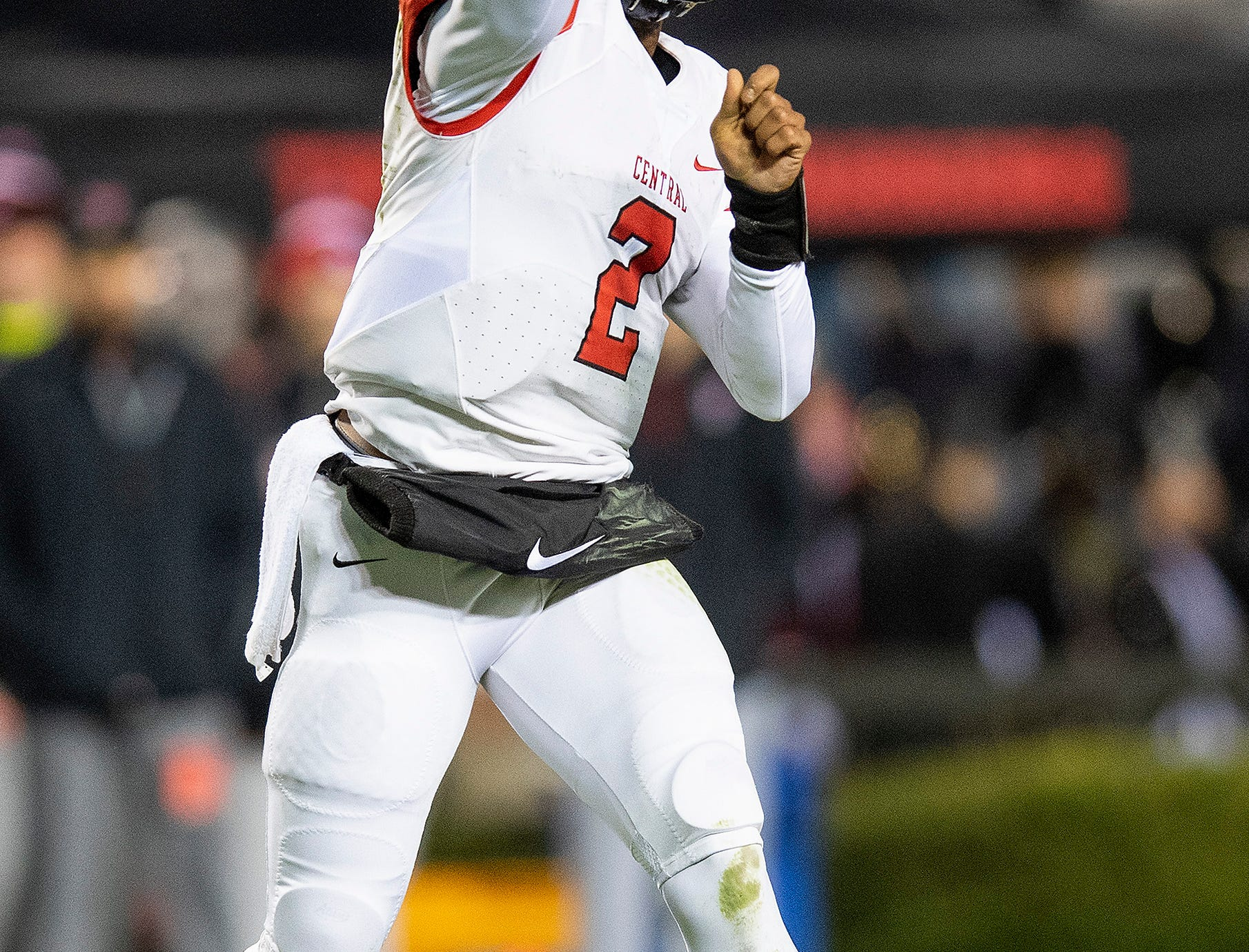 Central-Phenix City's Peter Parrish passes against Thompson during the AHSAA Class 7A State Championship Football Game at Jordan Hare Stadium in Auburn, Ala., on Wednesday evening December 5, 2018.