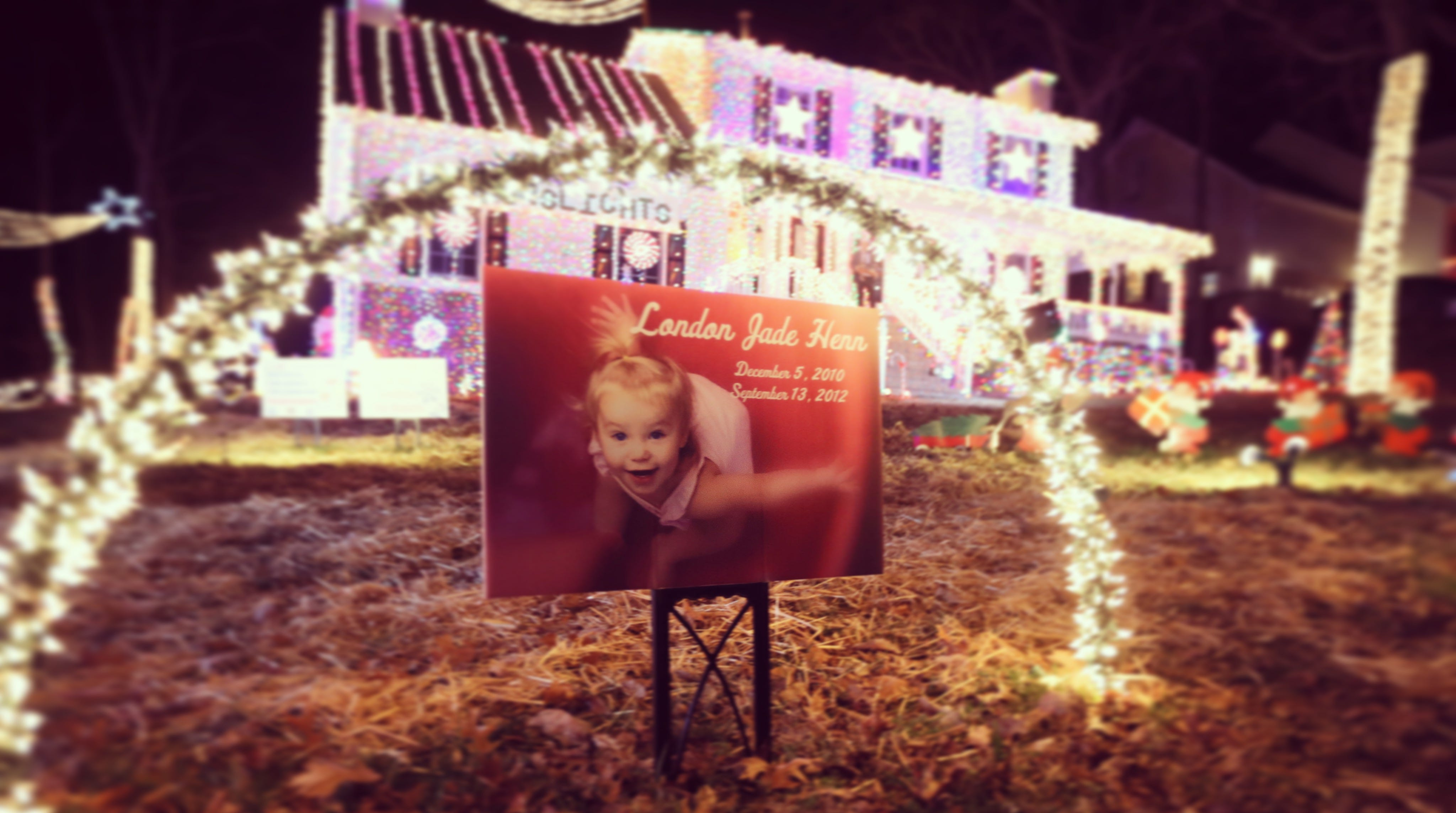 London Henn died when she was 21 months old. Her father, Brad Henn, puts up a Christmas display of 300,000 lights at his La Vergne home in her memory.