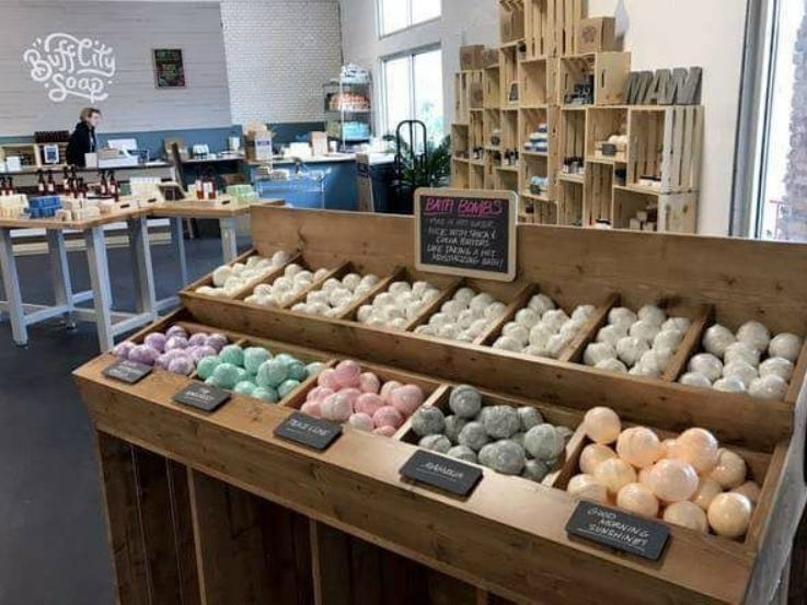 Bath bombs are among the many items handcrafted at Buff City Soap Co. Based in Memphis, the company has plans for a Murfreesboro store in the near future.
