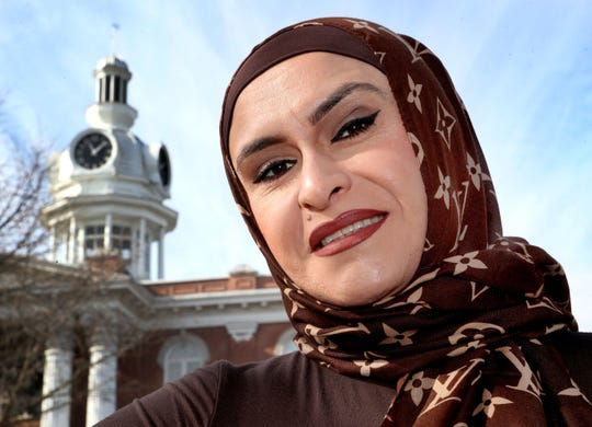Ayat Abu in front of the Rutherford County court house, on Dec. 6, 2018, a place where she has made many friends over the years.