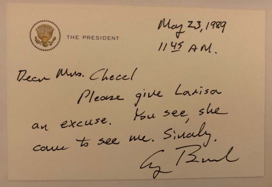 President George H.W. Bush wrote a note to the teacher of Larisa DeSantis asking for her to be excused from class for having visited her in the Oval Office in 1989.