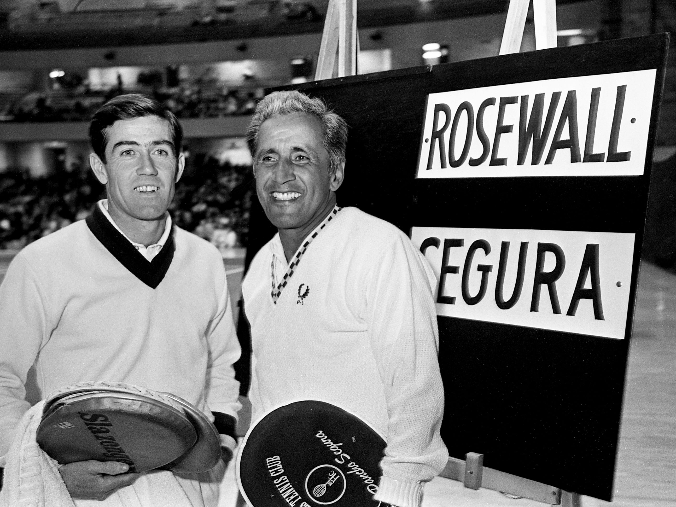 Pro players Ken Rosewall, left, and Pancho Segura pose for the camera before they kick off the Dixie Tennis Classic on Dec. 7, 1968, with the first match at Vanderbilt's Memorial Gym.