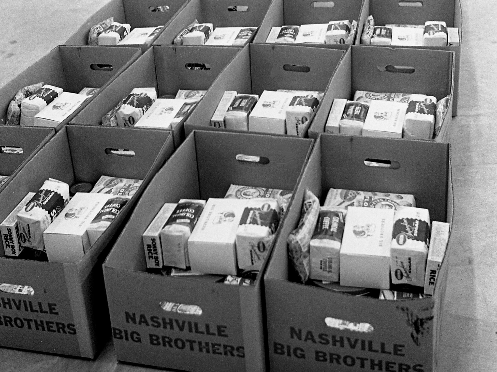 Some of the estimated 3,000 baskets Big Brothers and volunteers have prepared at the Tennessee State Fairgrounds Dec. 20, 1968 and will be distribute to needy families in Nashville for the Christmas holiday.