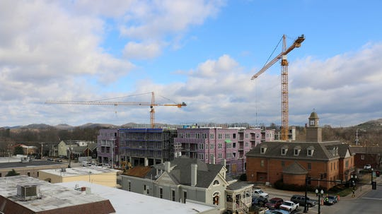 The view of Harpeth Square construction on the rooftop of the 231 Public Square building. Both buildings will mark the first four-story structures in downtown.