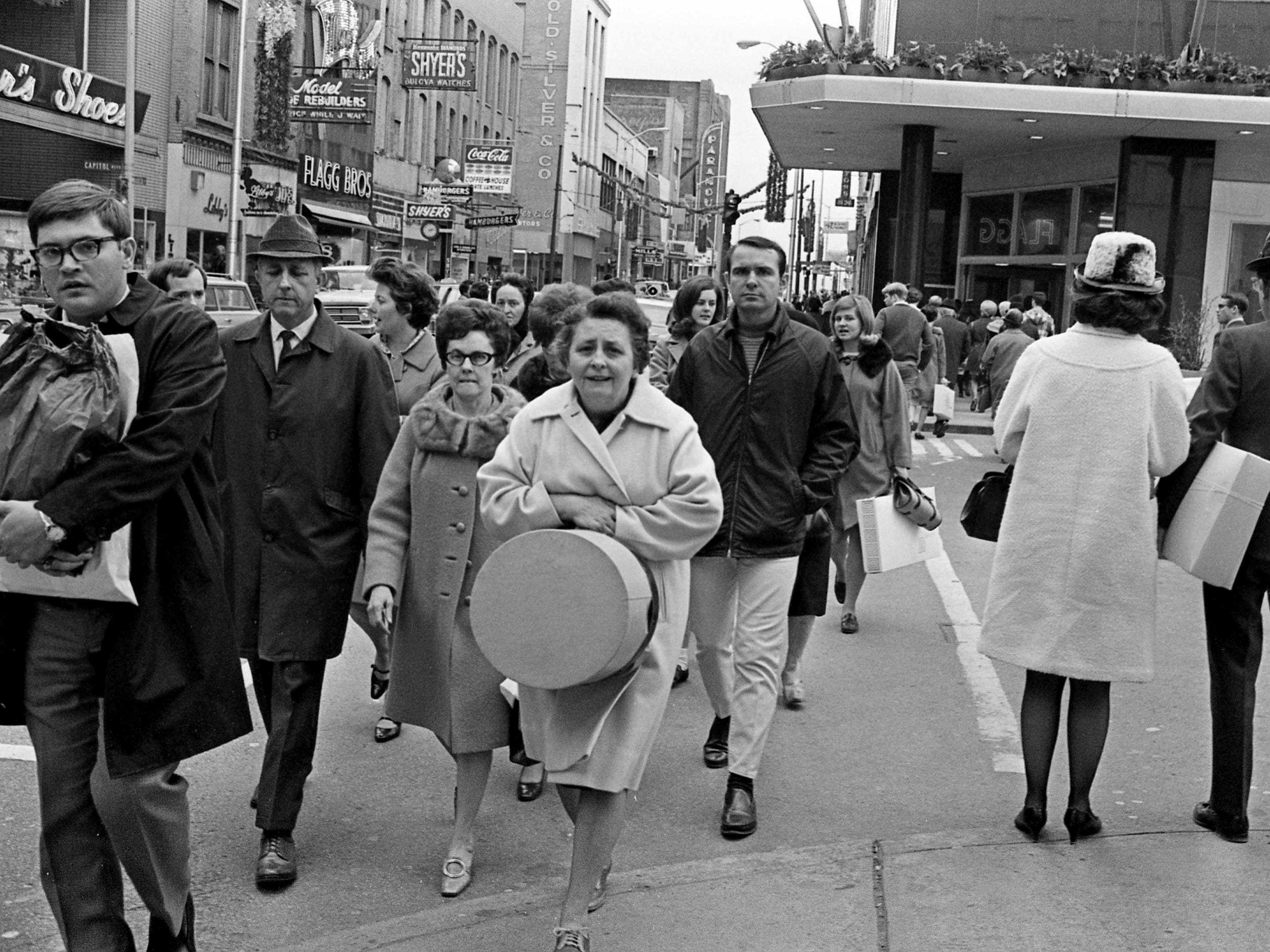 Church Street in downtown Nashville is packed as shoppers check out the day after Christmas sales Dec. 26, 1968.