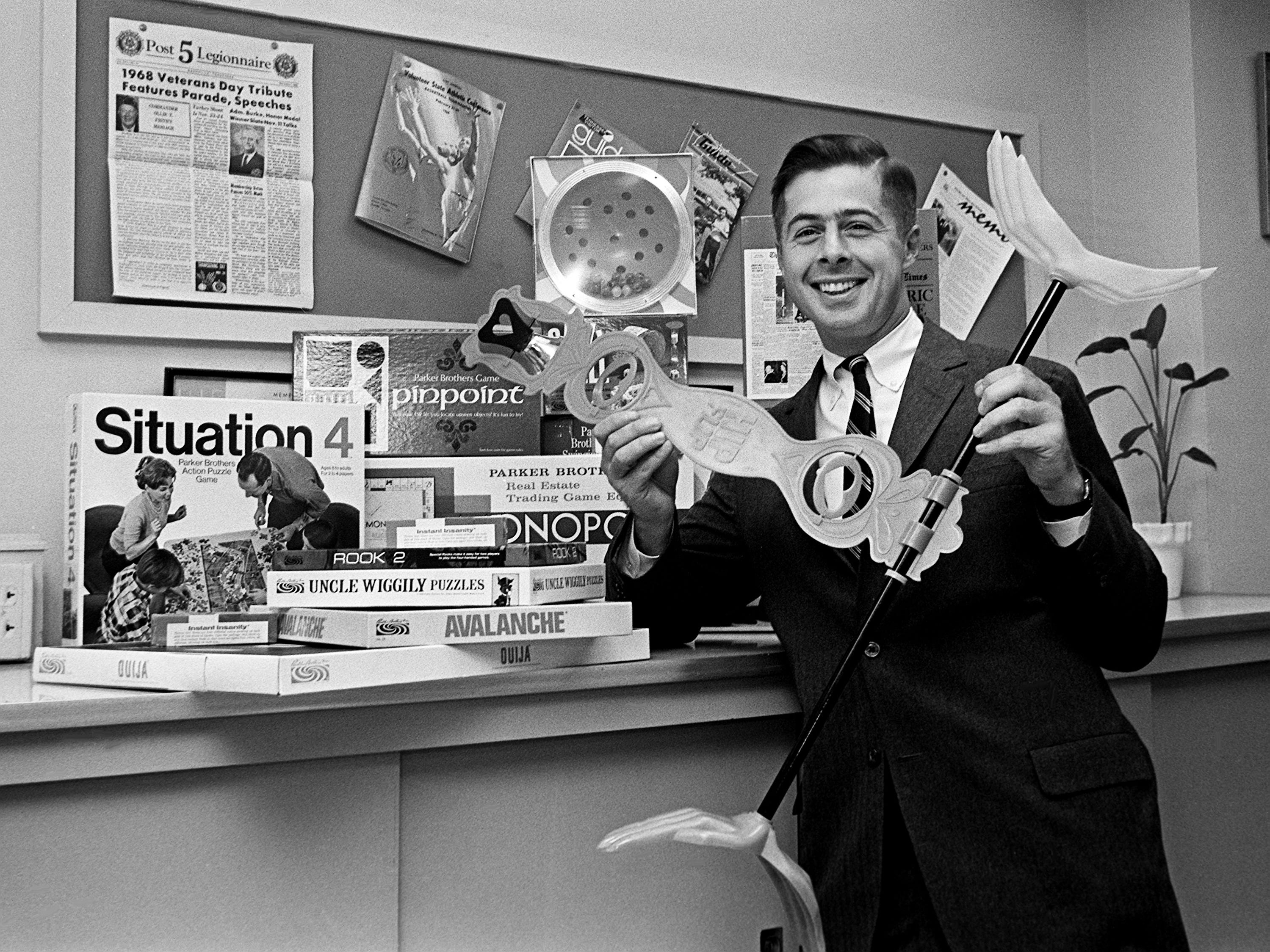 """Randolph Barton, executive vice president of Parker Brothers, Inc., hold """"Hip Flip,"""" one of the newest of his company's games Nov. 12, 1968. Visiting in Nashville this week, Barton is promoting the new Christmas toys on the market."""