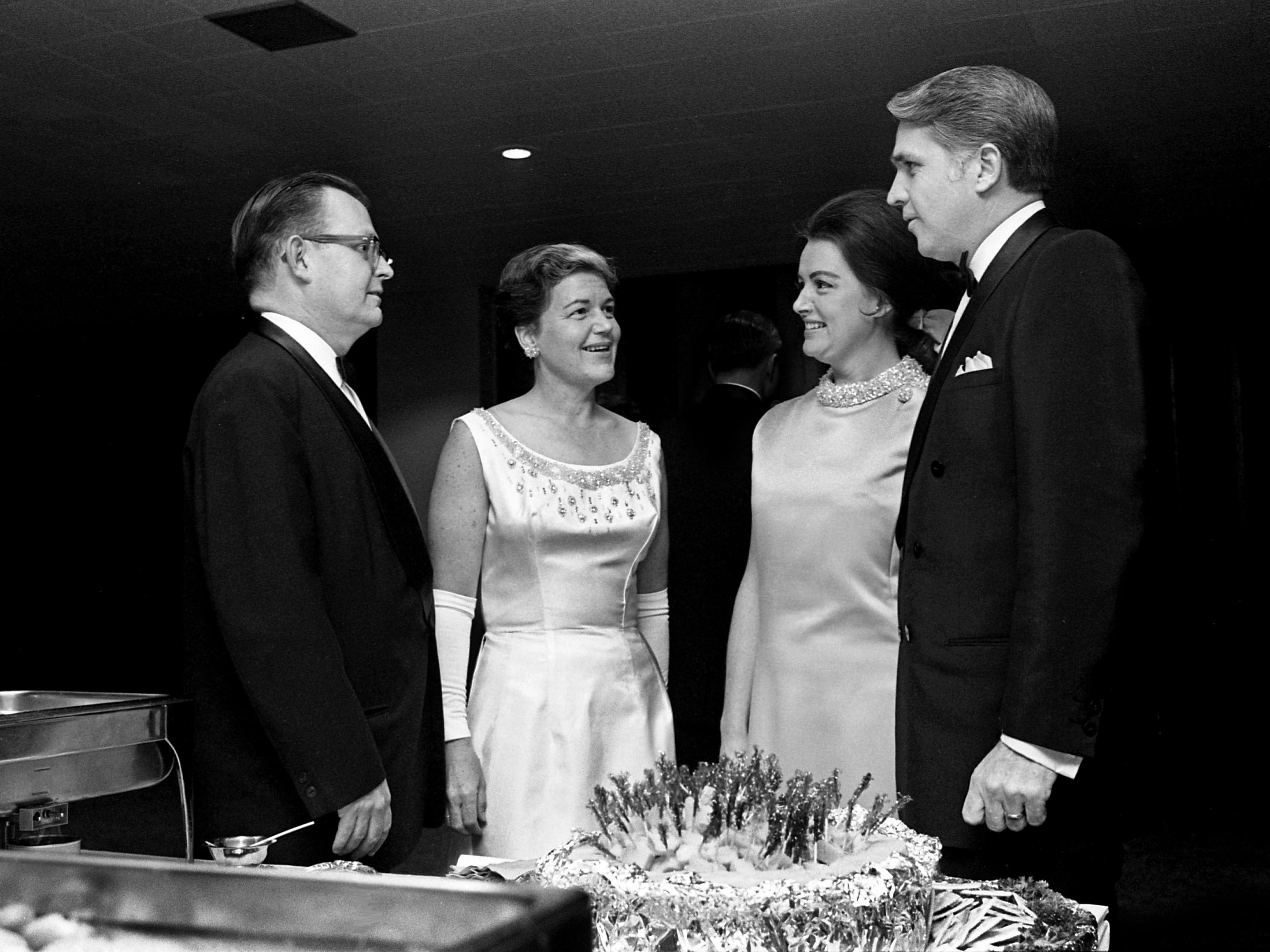 Robert Cooney, left, Miss Idanelle McMurry and Mrs. and Mr. E.J. Preston share a moment during the new Sheraton-Nashville's Opening Ball on Dec. 13, 1968.