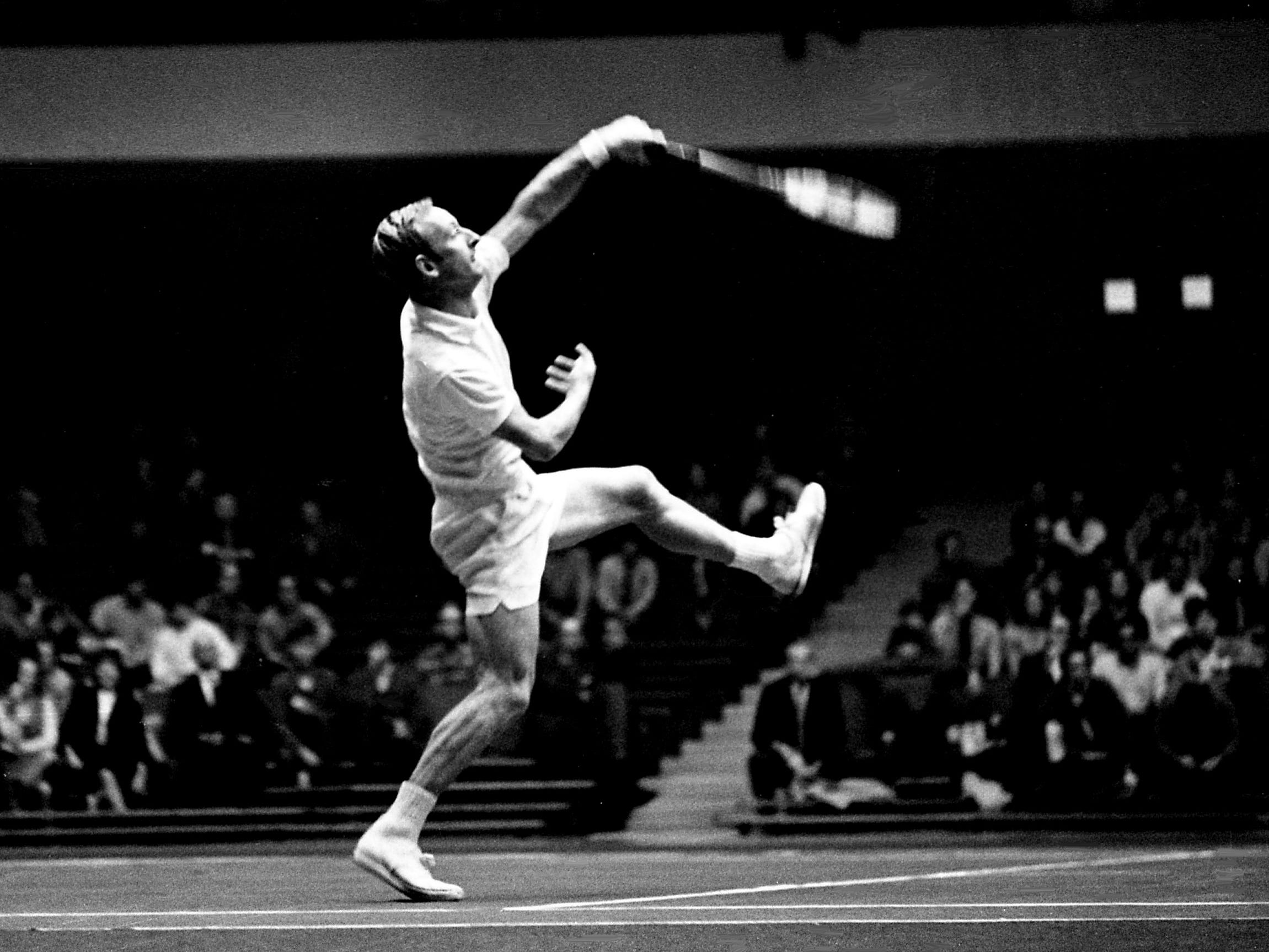 World's top-ranked player Rod Laver follows through on an overhead smash en route to winning the singles championships Dec. 10, 1968, in the Dixie Tennis indoor tournament at Vanderbilt's Memorial Gym. Laver defeated fourth-ranked fellow Australia native Ken Rosewall 6-2, 6-3.