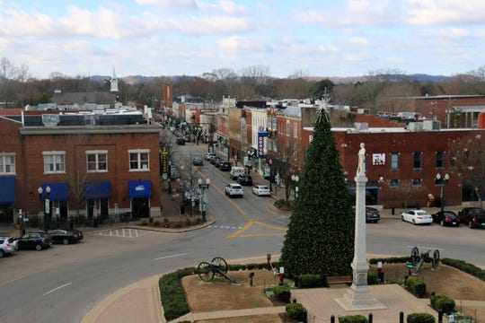 The view of downtown Franklin from the new rooftop patio of the 231 Public Square building on Dec. 5, 2018. Two of the approved African-American history markers will be placed near the roundabout in the public square.