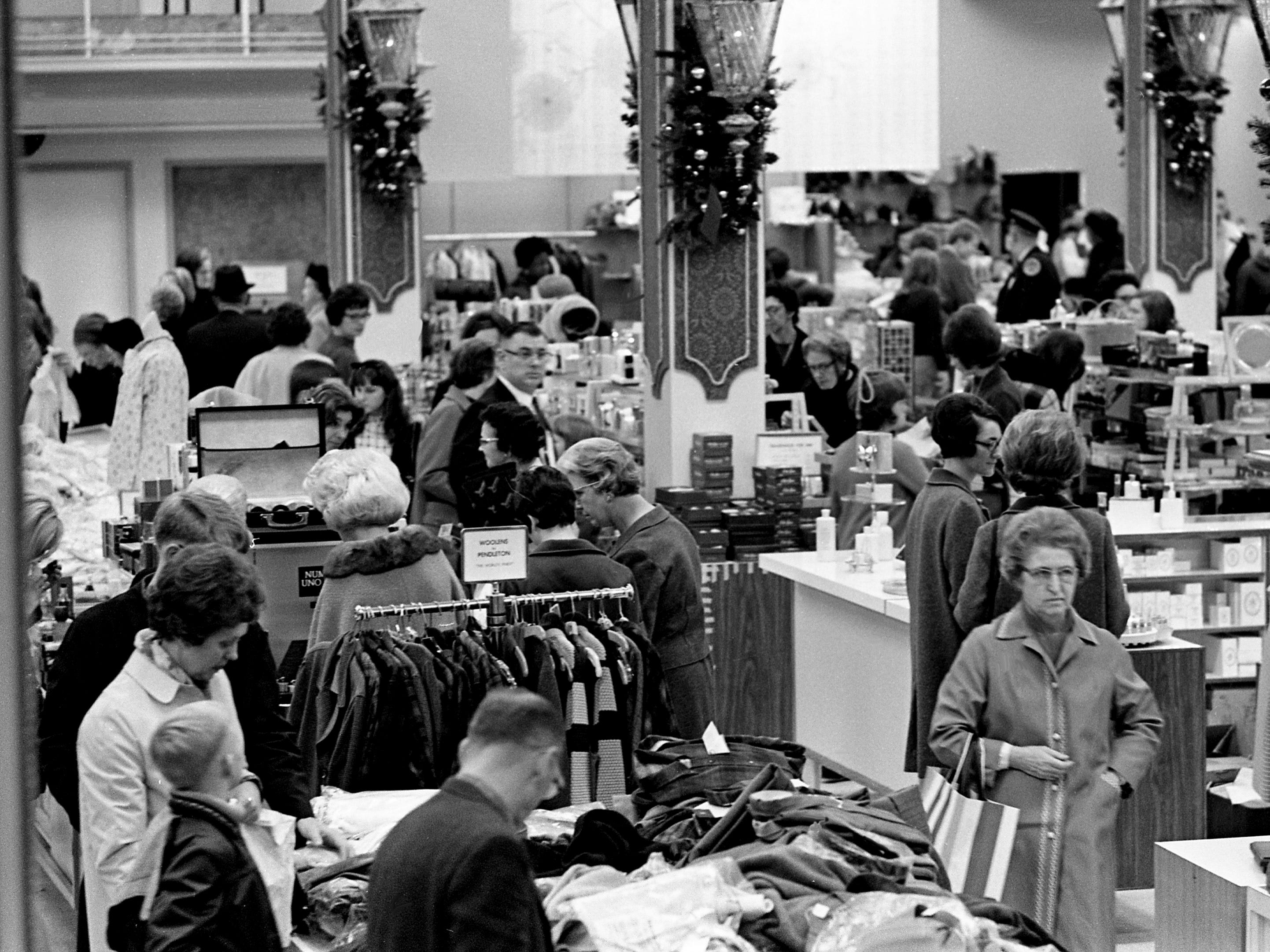 Shoppers are packing one of the downtown Nashville's department store on Church Street Dec. 7, 1968 for their Christmas shopping.