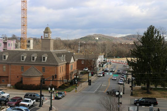 The view of Roper's Knob in downtown Franklin from the rooftop patio of 231 Public Square building on Dec. 5, 2018.