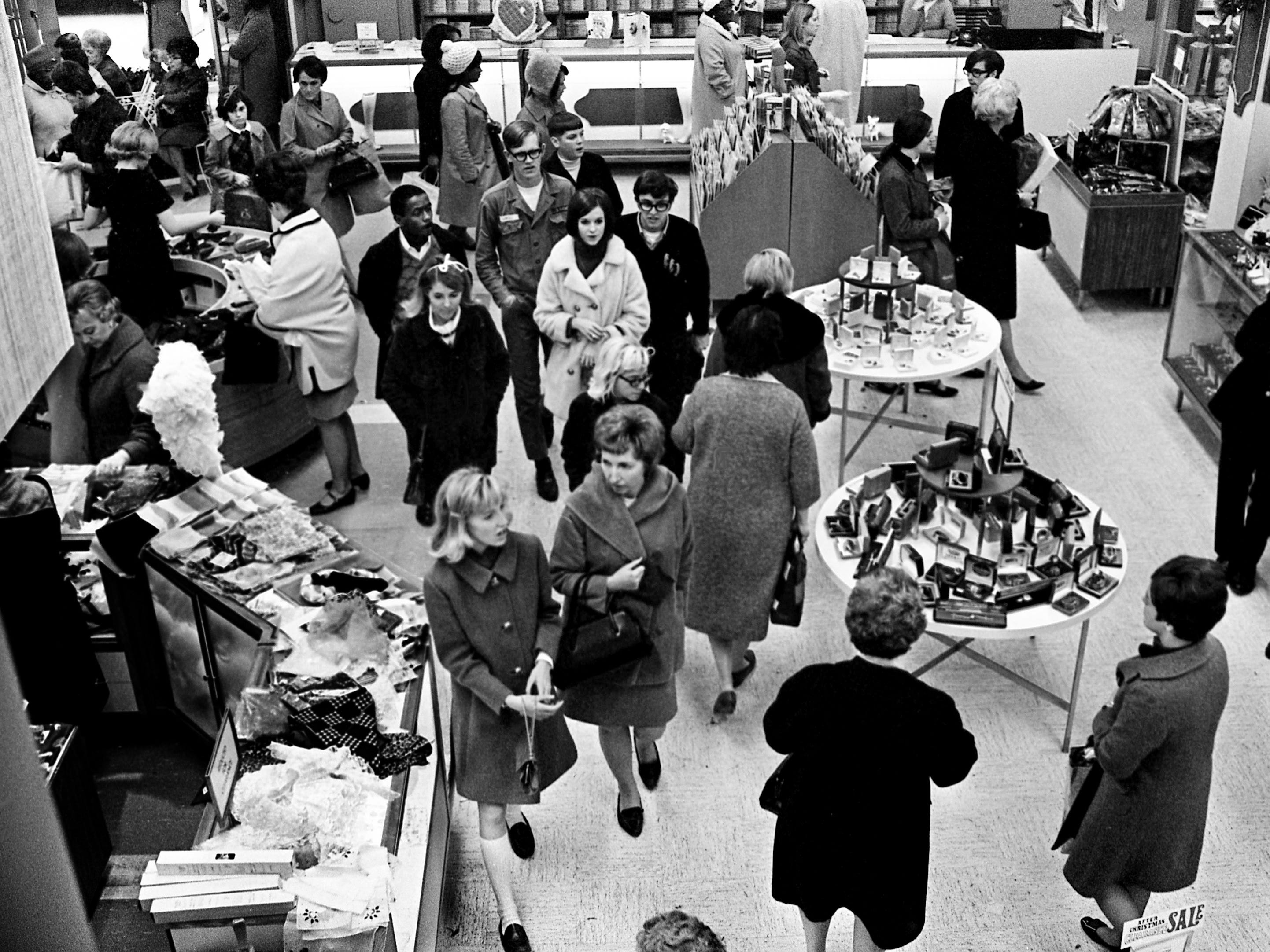 One of the department stores on Church Street in downtown Nashville is packed as shoppers check out the day after Christmas sales Dec. 26, 1968.
