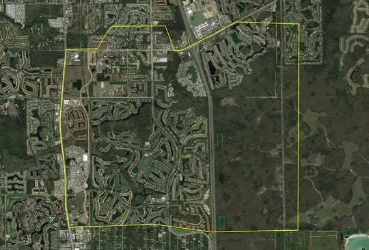 The area outlined in yellow shows the part of Estero east of U.S. 41 and south of Corkscrew Road that will have new FEMA flood insurance rate maps, which become effective Dec. 7.
