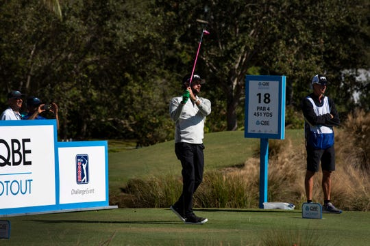 Bubba Watson of Florida tees off for the last hole during the 30th annual QBE Shootout Pro - Amateur round two, on Thursday, Dec. 6, 2018, at Tiburón Golf Club in Naples.