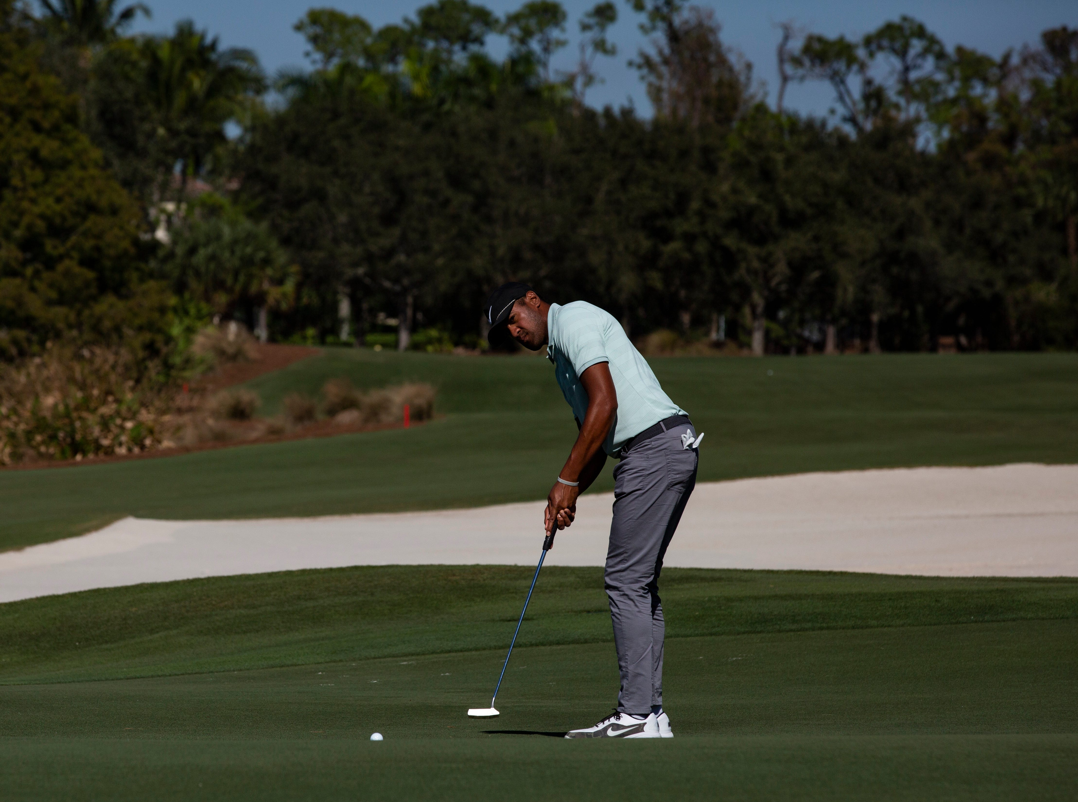 Tony Finau of Utah putts the ball during the 30th annual QBE Shootout Pro - Amateur round two, on Thursday, Dec. 6, 2018, at Tiburón Golf Club in Naples.