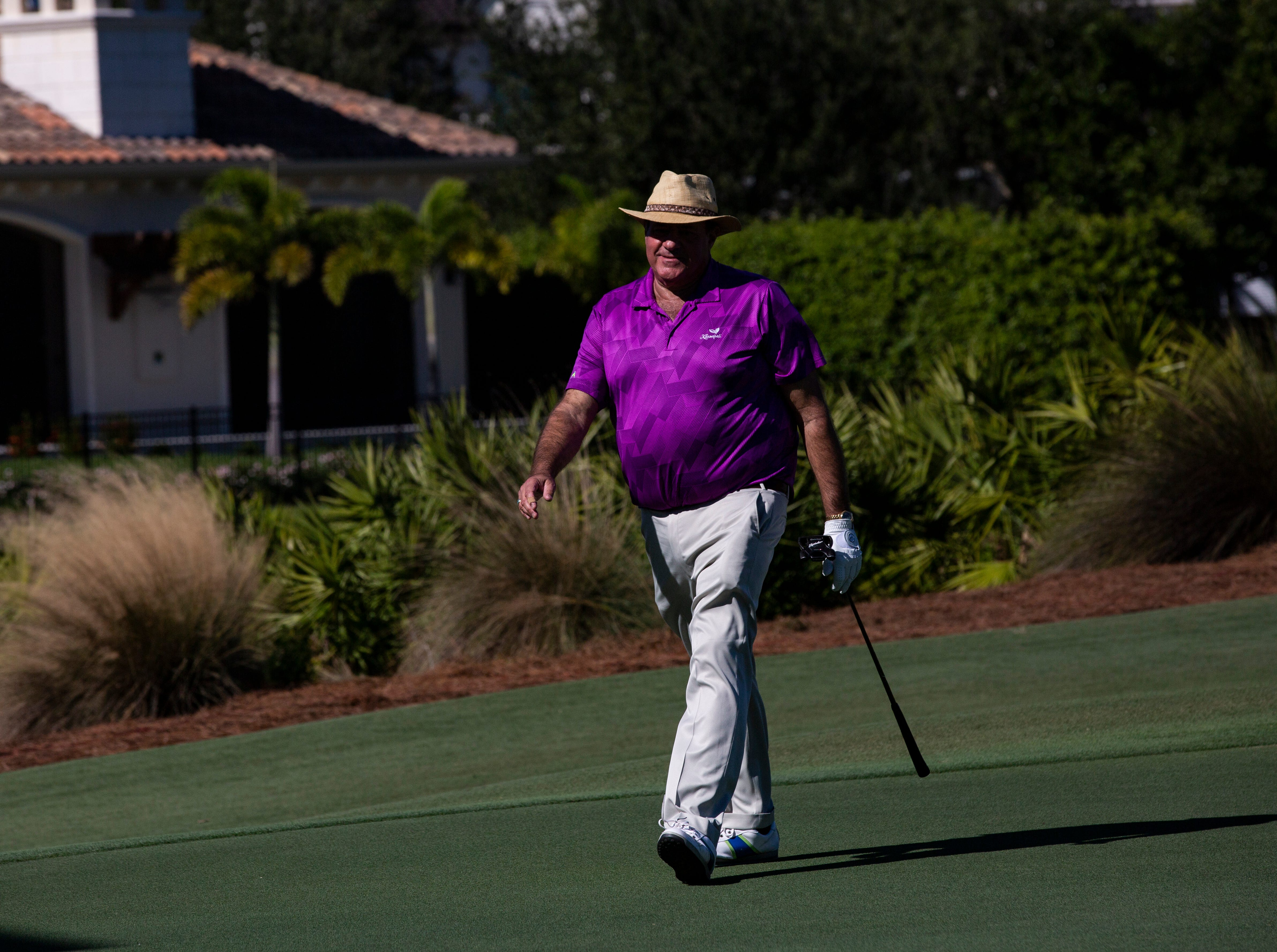 Famous American sportscaster, Chris Berman, prepares to putt the ball during the 30th annual QBE Shootout Pro - Amateur round two, on Thursday, Dec. 6, 2018, at Tiburón Golf Club in Naples. Berman was places with Tony Finau's group for the second round.