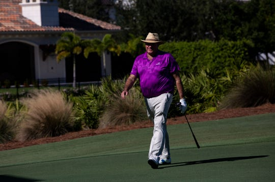 ESPN's Chris Berman prepares to putt the ball during the 30th annual QBE Shootout Pro-Am on Thursday at Tiburón Golf Club in Naples. Berman was playing with Tony Finau's group for the second round.