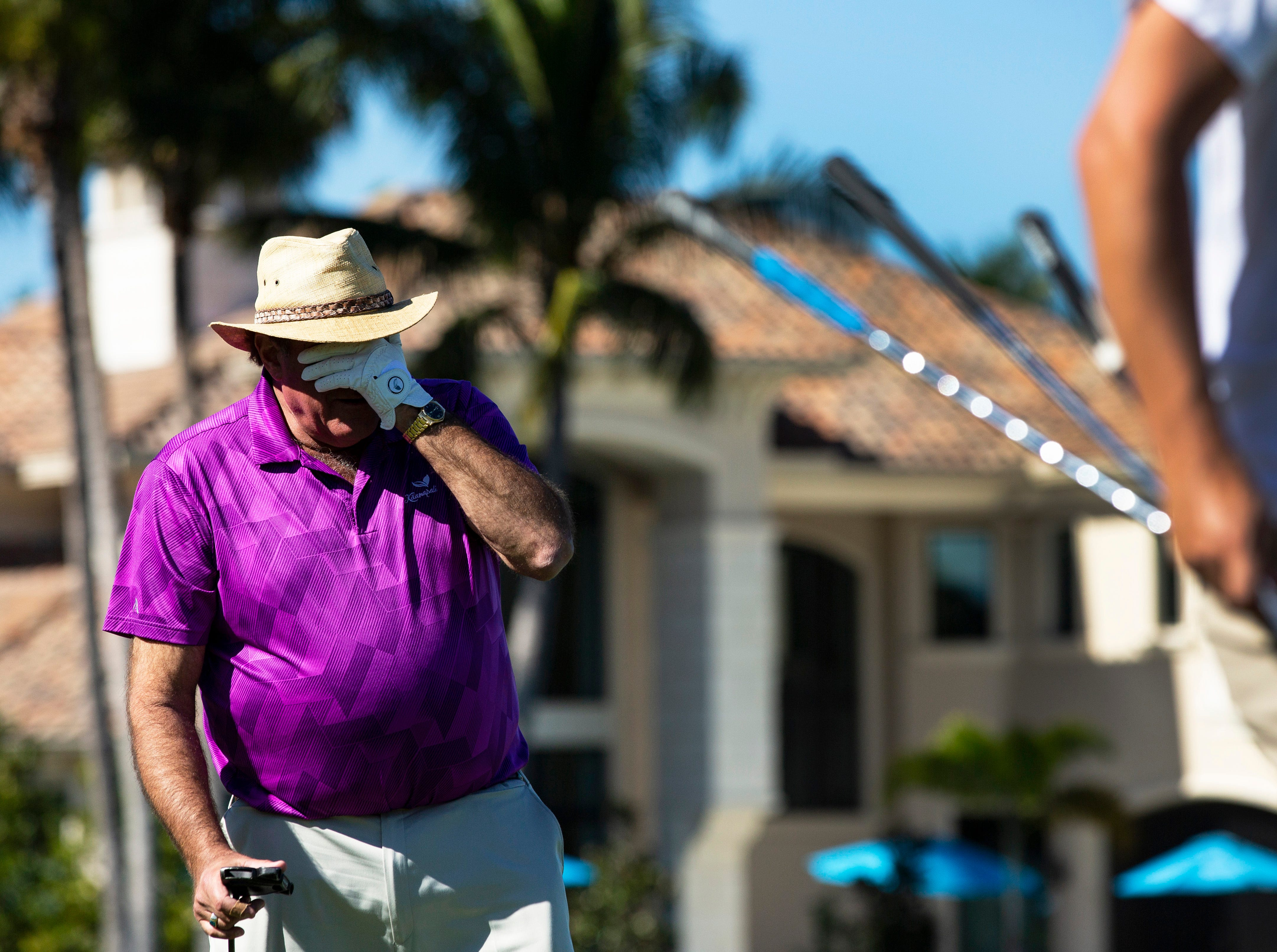 Famous American sportscaster, Chris Berman, reacts to a bad putt during the 30th annual QBE Shootout Pro - Amateur round two, on Thursday, Dec. 6, 2018, at Tiburón Golf Club in Naples. Berman was places with Tony Finau's group for the second round.