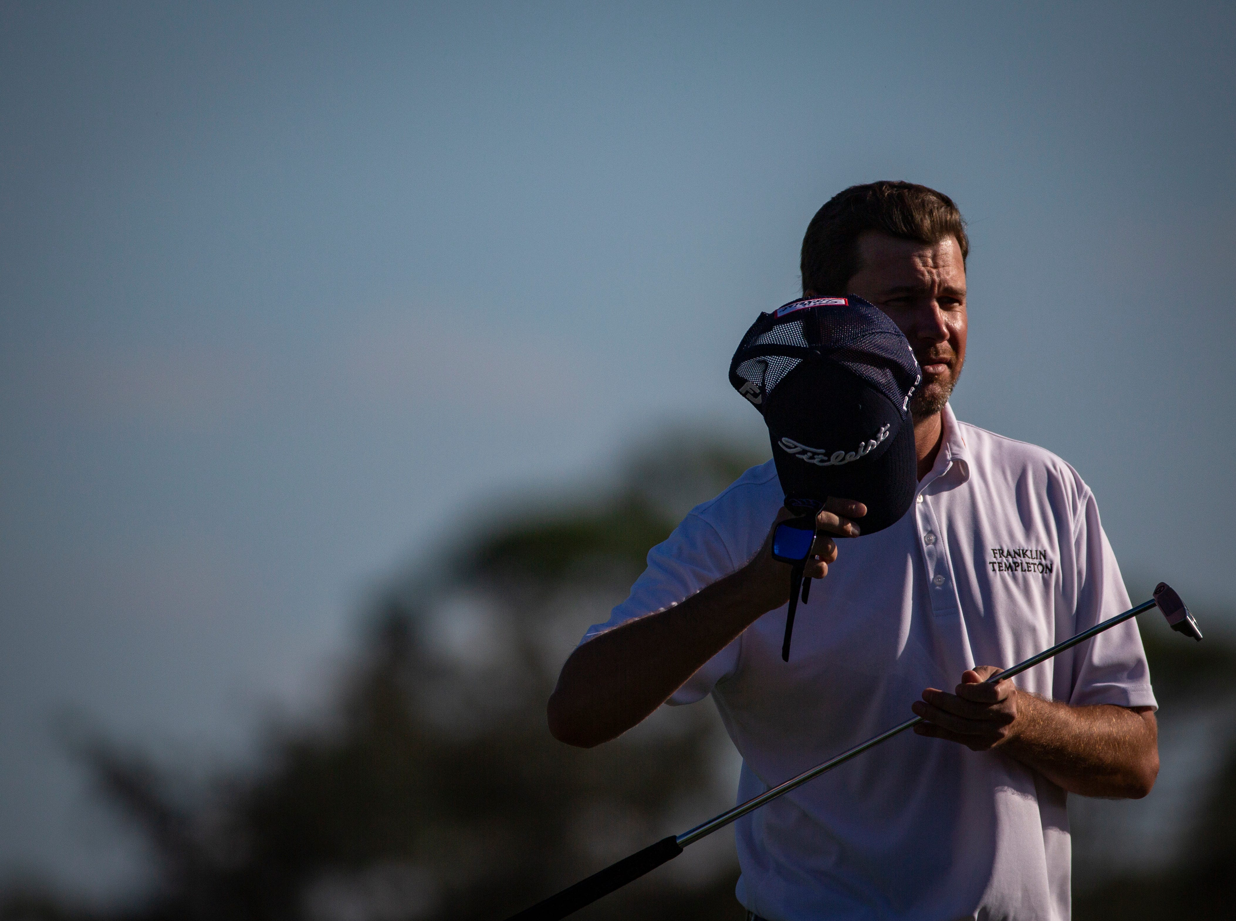 Steven O'Hair of Texas removes his cap after finishing the 30th annual QBE Shootout Pro - Amateur round two, on Thursday, Dec. 6, 2018, at Tiburón Golf Club in Naples.