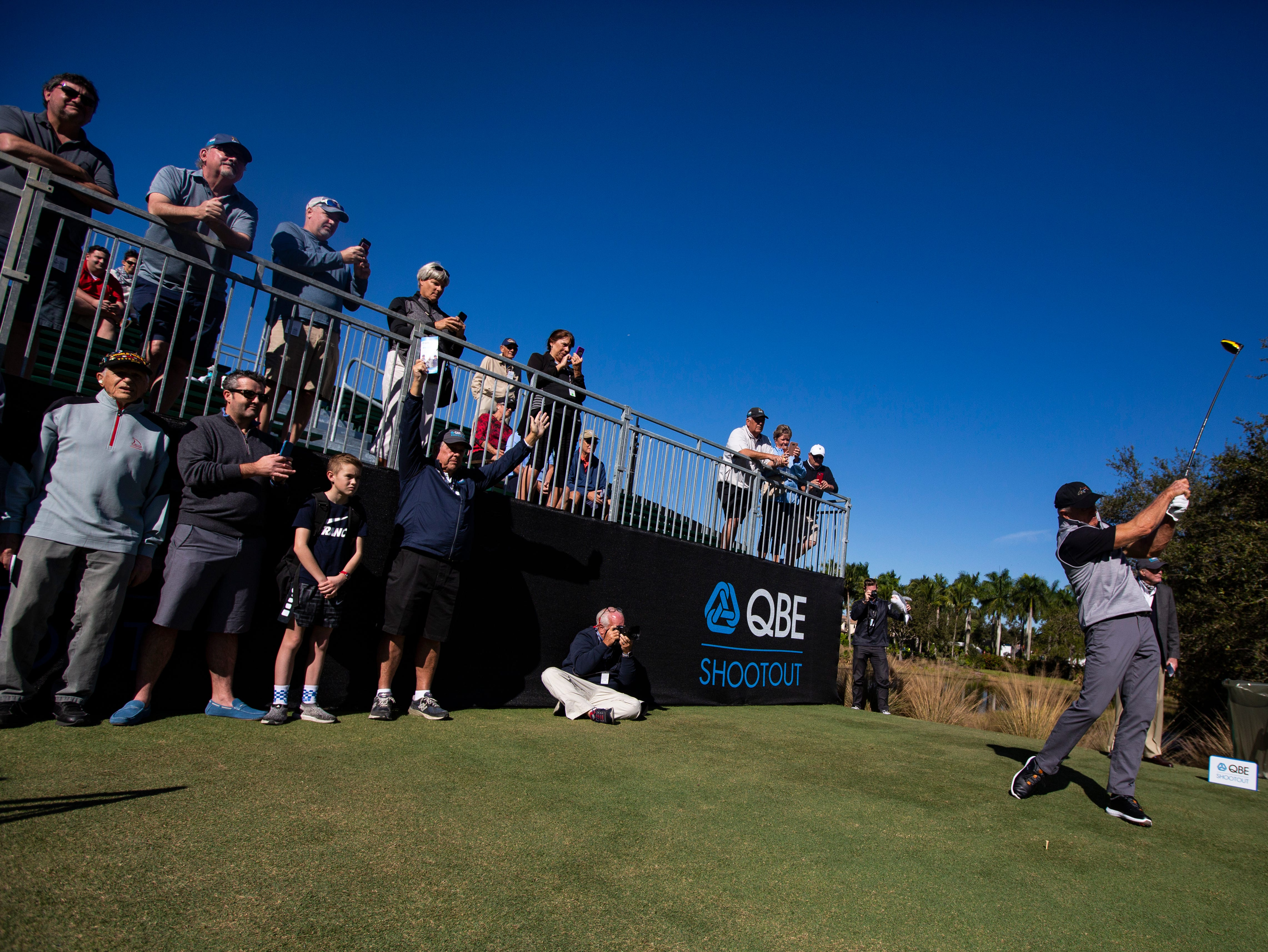 Greg Norman of Australia tees off during the 30th annual QBE Shootout Pro - Amateur round two, on Thursday, Dec. 6, 2018, at Tiburón Golf Club in Naples.